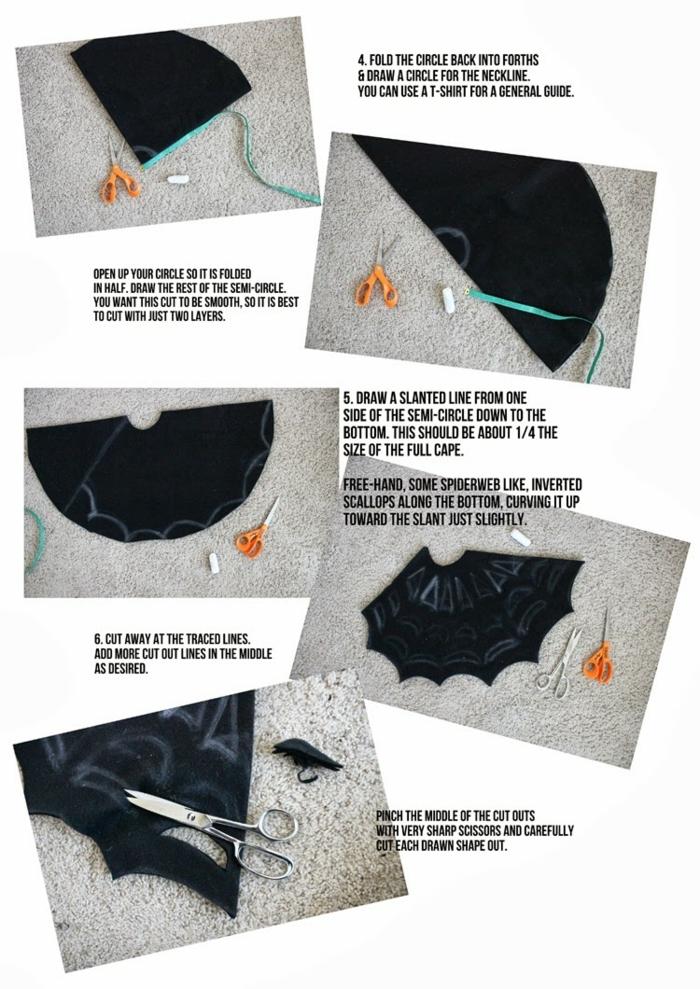 pasos para hacer un disfraaz de Batman original solo de con un trozo de fieltro, ideas de manualidades de fieltro fáciles y rápidsa en fotos, manualidades Hallowen