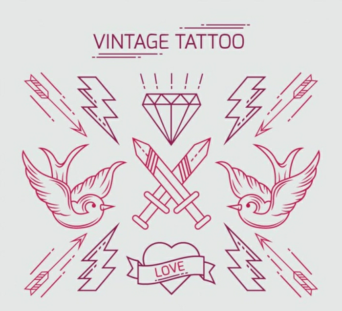 pequeños motivos de tatuajes vintage, tatuajes para mujeres originales y fáciles de hacer, diseños de tatuajes simbólicos