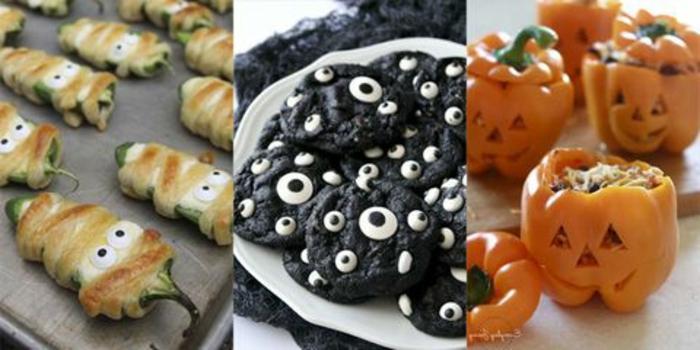tres ideas de aperitivos faciles y rapidos para una fiesta de otoño, jalapeños, galletas de Halloween y pimientos rellenos jack' o'lantern
