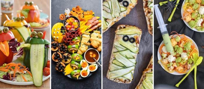 cuatro excelentes ideas de aperitivos faciles y rapidos con vegetales para una cena Halloween, tapas fáciles y rápidas