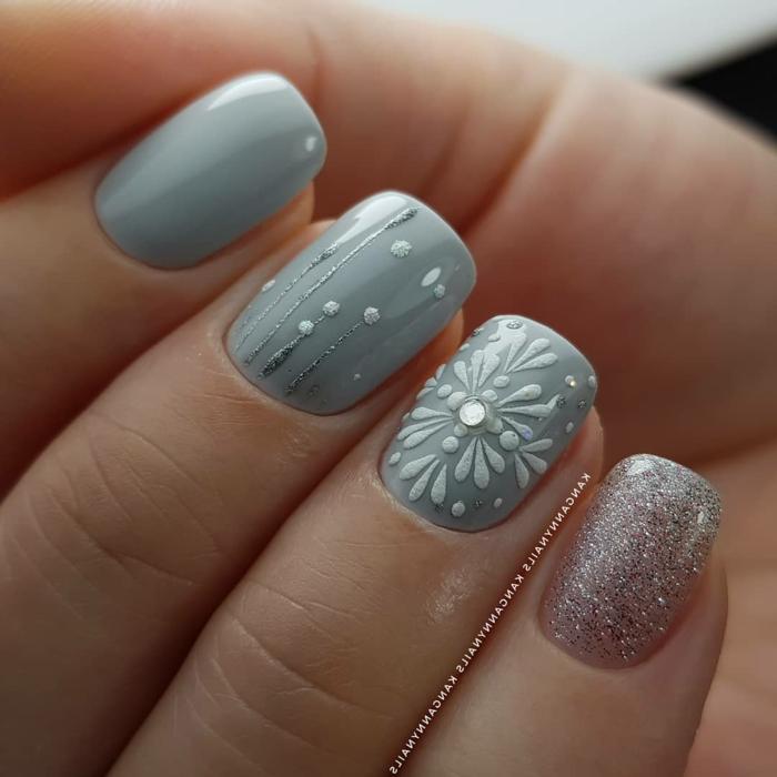 colores para uñas, top tendencias en decoración de uñas otoño invierno 2019 2020, uñas largas de forma cuadrada pintadas en gris