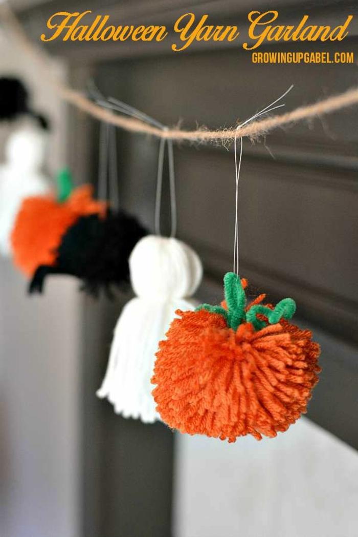 pompones DIY para el día de halloween, decoracion halloween manualidades, ideas de manualidades para el otoño