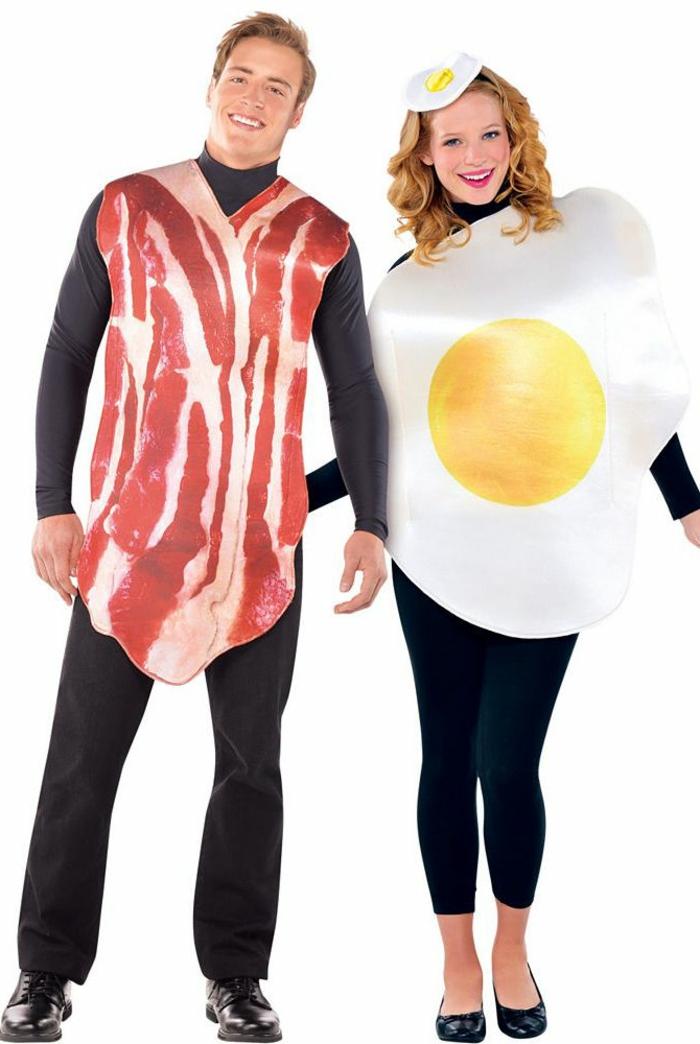 las mejores ideas de disfraces para parejas, disfraces halloween originales, jamón y huevo estrellado, disfraces originales en fotos