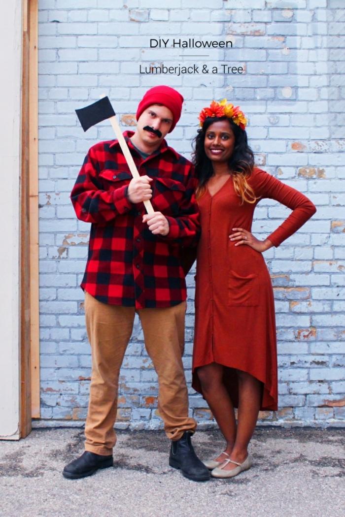 ideas de manualidades Halloween y disfraces hechos a mano, disfraces halloween originales, fotos de parejas disfrazadas