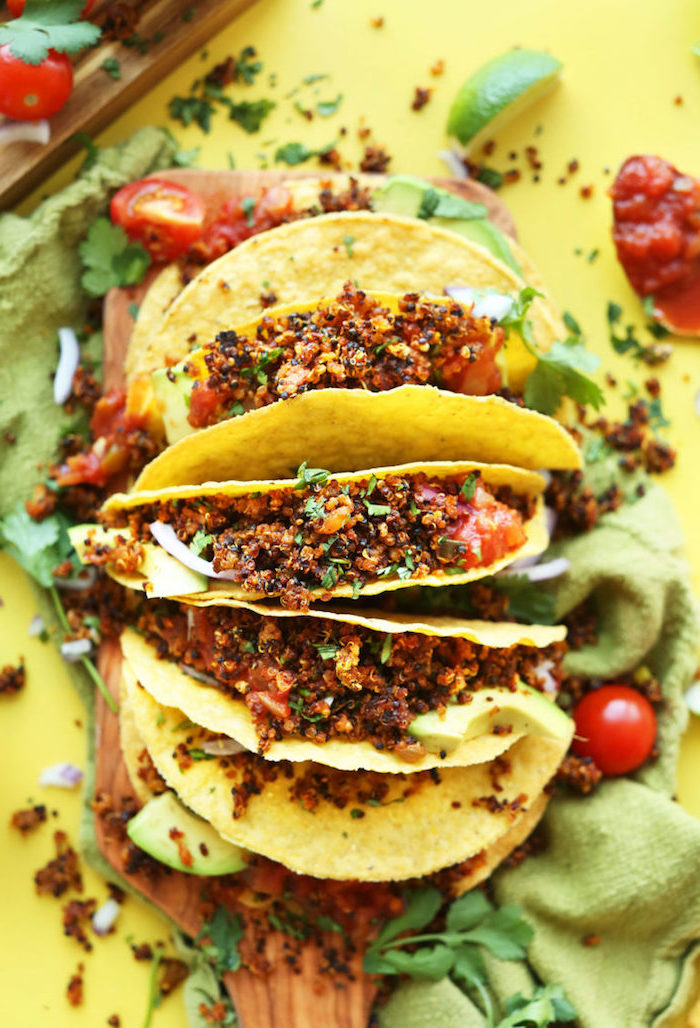 ingredientes para tacos mexicanos receta, como hacer tacos vegetarianos paso a paso, ideas de tacos con quinoa en fotos