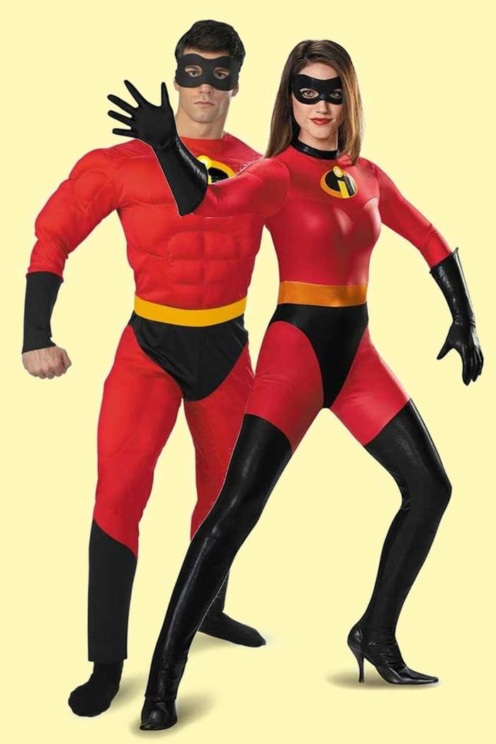 disfraces para parejas clásicos, disfraces de halloween originales, originales ideas de disfraces hombre y mujer para una fiesta de Halloween