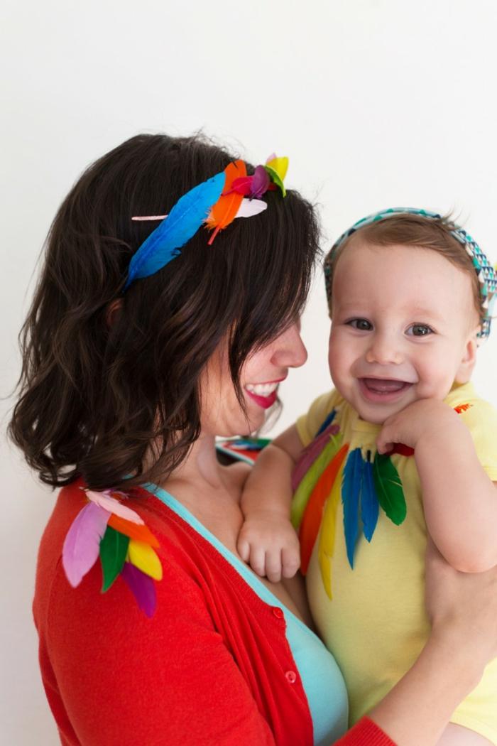 adorables ideas de disfraces madre e hijo, disfraces pájaros, ideas sobre como hacer un disfrace DIY paso a paso en fotos