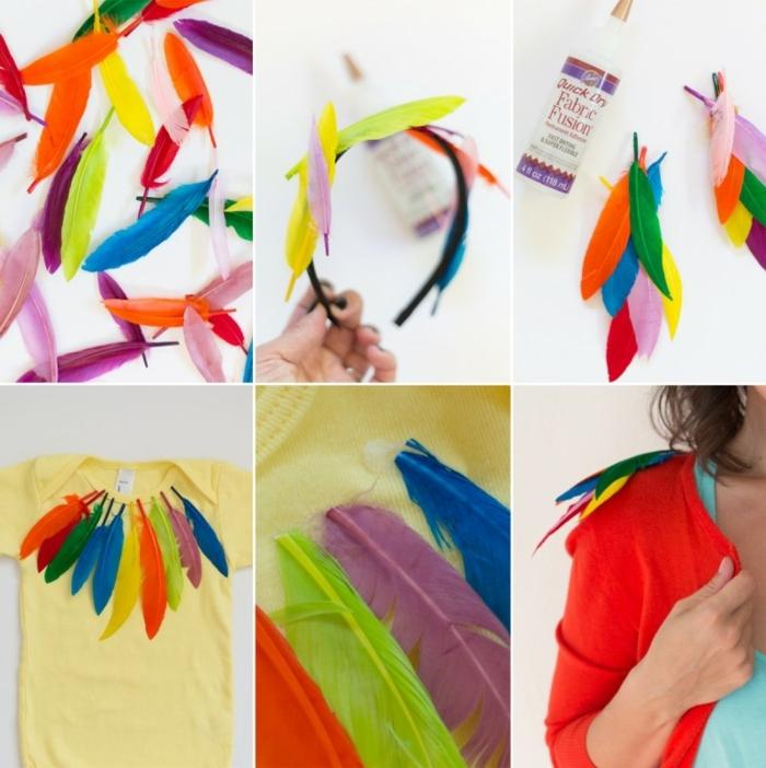 como hacer una corona de plumas artificiales en colores paso a paso, disfraces de halloween originales, fotos de disfraces DIY