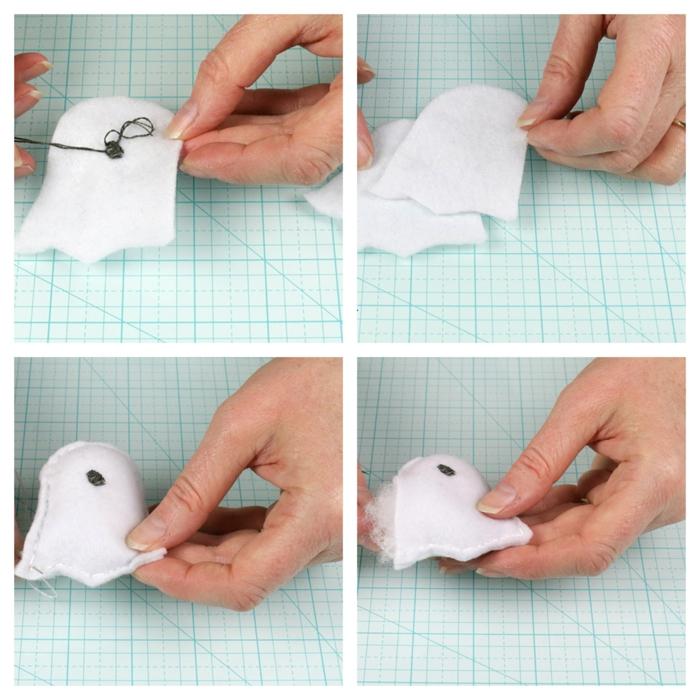 super originales ideas de adornos halloween caseros, pequeños adornos de fieltro en forma de fantasmas en fotos