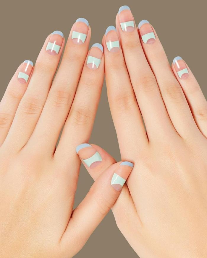 cuáles son los colores modernos para uñas en 2019, 2020, uñas de gel bonitas en imágenes, uñas francesas decoradas en verde y azul