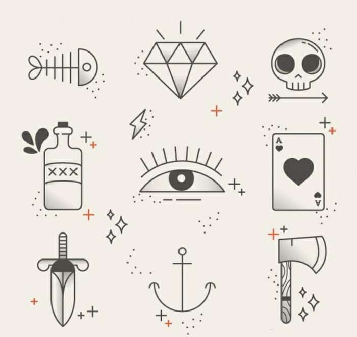 pequeños motivos para un tatuaje en estilo vintage, tatuajes old school bonitos y fáciles de hacer, plantillas tattoo