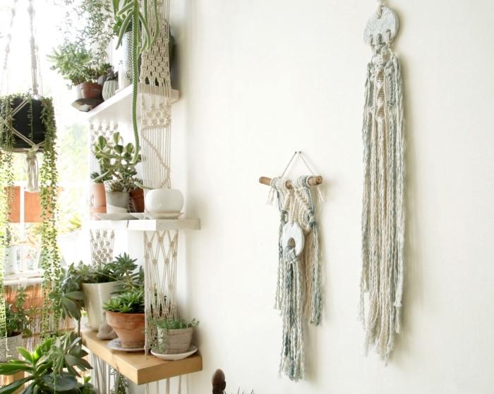 super bonitas ideas sobre como decorar la casa en estilo bohemio con pequeños detalles, manualidades con macrame