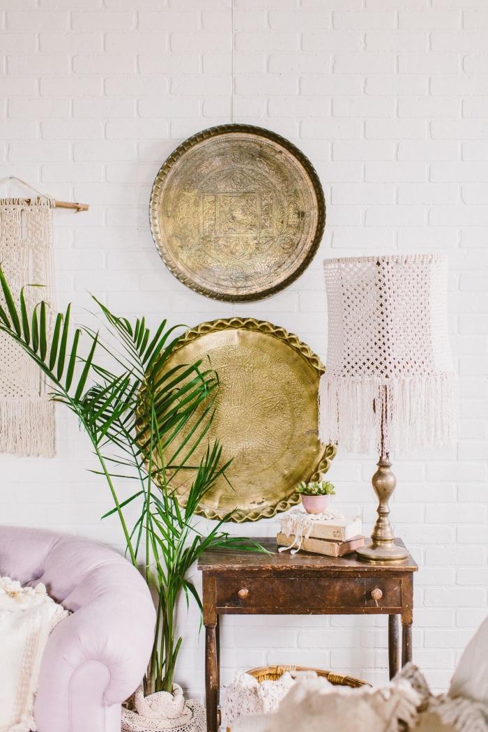 adorables ejemplos de espacios decorados en estilo bohemio, muebles de cobre, plantas verdes y detalles en estilo vintage