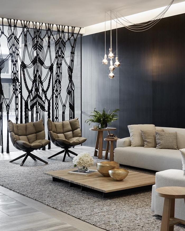 originales ideas de nudos macramé para decorar el espacio, cortina macrame color negro, cortinas de macrame para decorar el salón