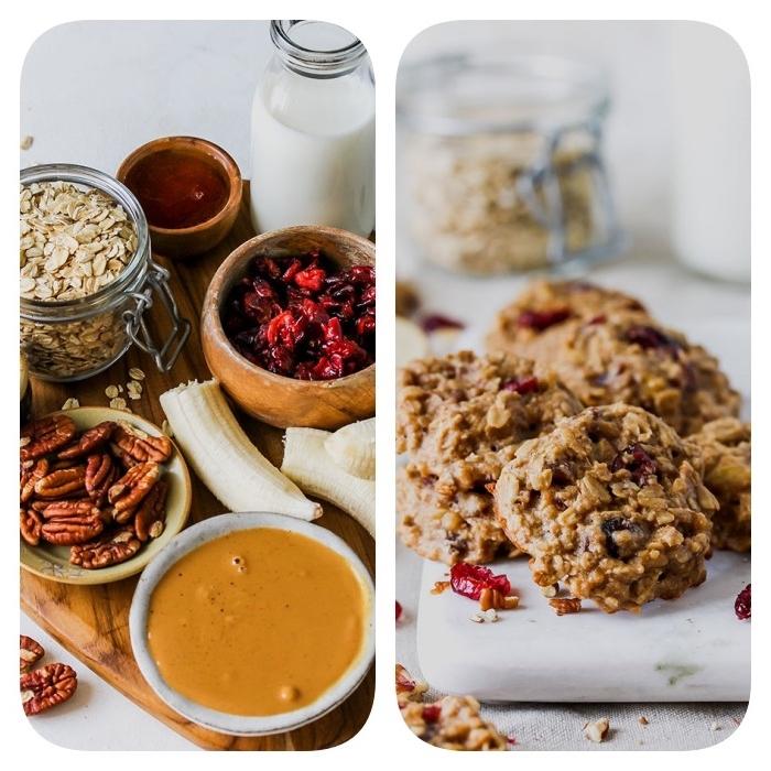 galletas saludables cláscias con copos de avena, frutas secas, nueces y mantequilla de cacahuetes