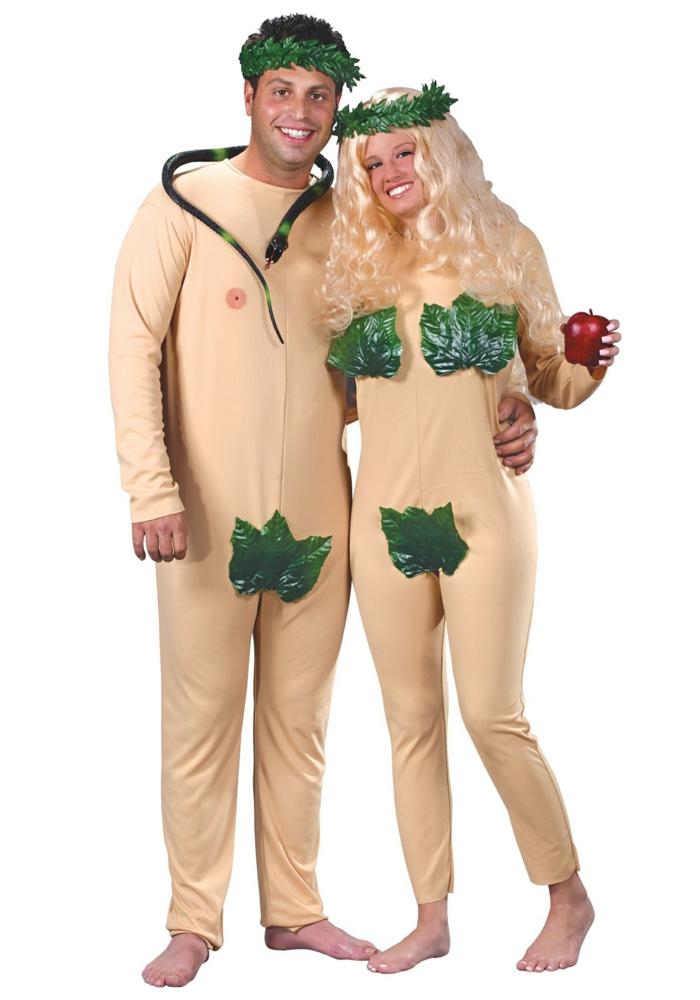Adam y Eva disfraces clásicos para una fiesta de Halloween, propuestas para parejas, fotos de disfraces DIY originales