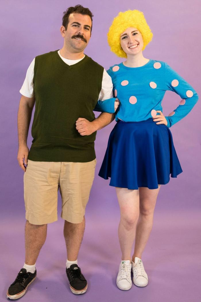 trajes de carnaval simpáticos inspirados en películas y series, cómo disfrazarse con tu pareja para una fiesta de halloween