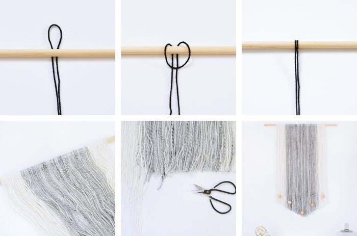 tutoriales de manualidades para decorar la casa, cortina macrame original paso a paso, ideas de nudos macramé originales