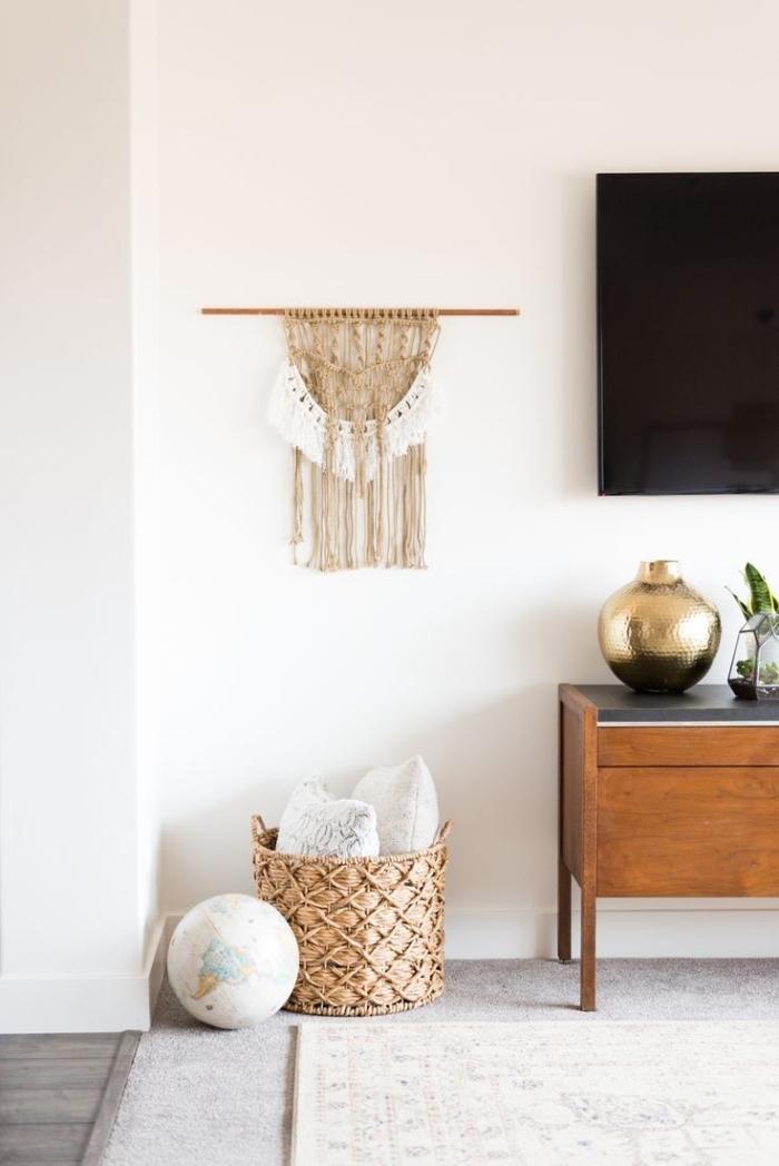 manualidades originales con macrame para colgar en la pared, ideas de colgantes de macrame decorativos en estilo boho
