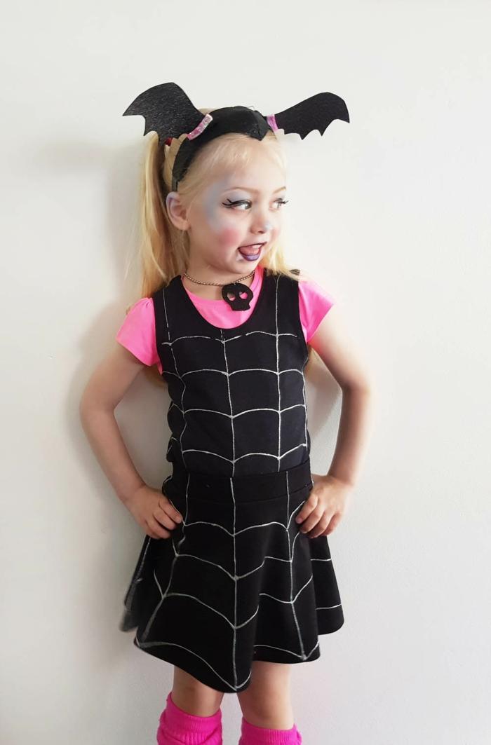 disfrace murciélago para niña pequeña, ideas sencillas y originales, disfraces originales mujer y niña, las mejores ideas para halloween