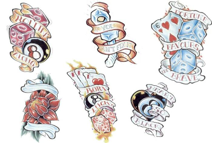 plantillas de tatuajes coloridos en estilo vintage, tatuajes old school, motivos de tatuajes vintage en plantillas originales