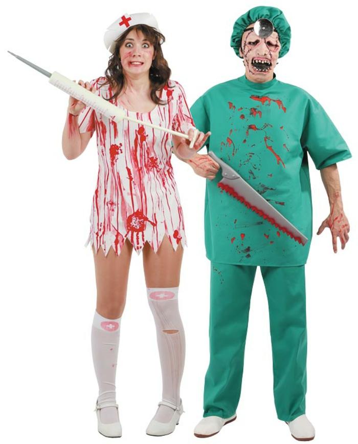 disfraces faciles de hacer para adultos en grupos y parejas, disfraces enfermera y médico, caras pintadas para Halloween