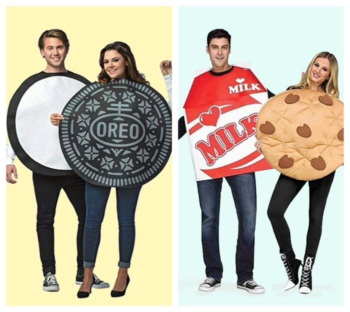 disfraces galleta y leche, originales ideas de disfraces para novios y maridos, ideas de trajes de carnaval para una pareja