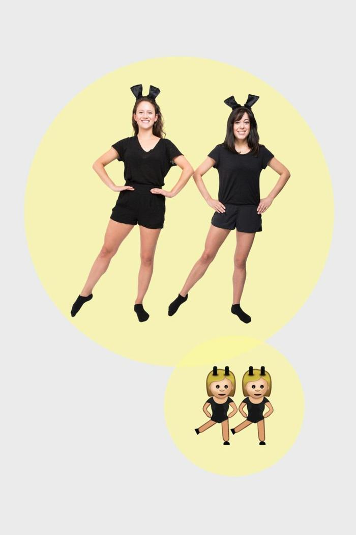 disfraces faciles de hacer para adultos, disfraces emoji para amigas, ideas de disfraces para mejores amigas en fotos