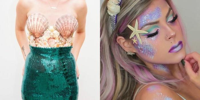 las mejores ideas de disfraces originales mujer, disfraces sirena simpáticos y fáciles de hacer, originales ideas para disfraces