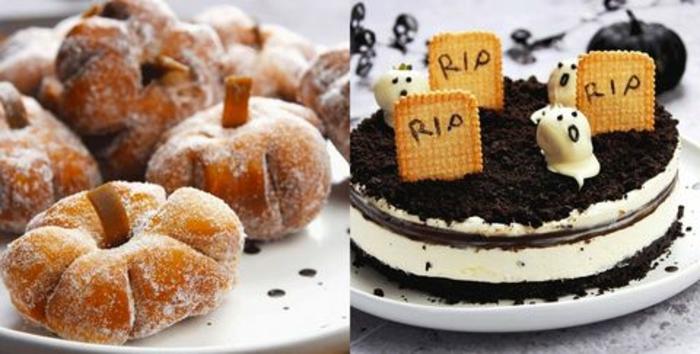 las ideas más originales y terroríficas de recetas para una fiesta de halloween, donuts en forma de calabaza y tarta mascarpone