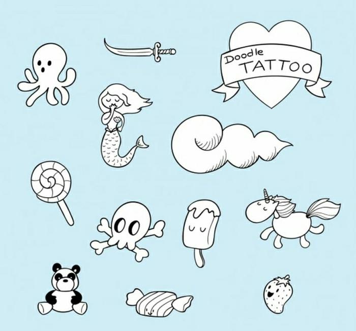 pequeños motivos en estilo old school para tatuajes, diseños originales de tatuajes minimalistas en plantillas que puedes descargar