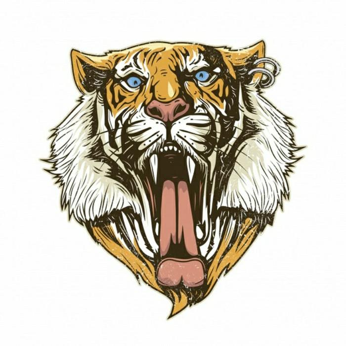 tatuaje tigre en colores, diseños de tatuajes típicos en estilo old school, bonitos diseños de tatuajes temporales en fotos