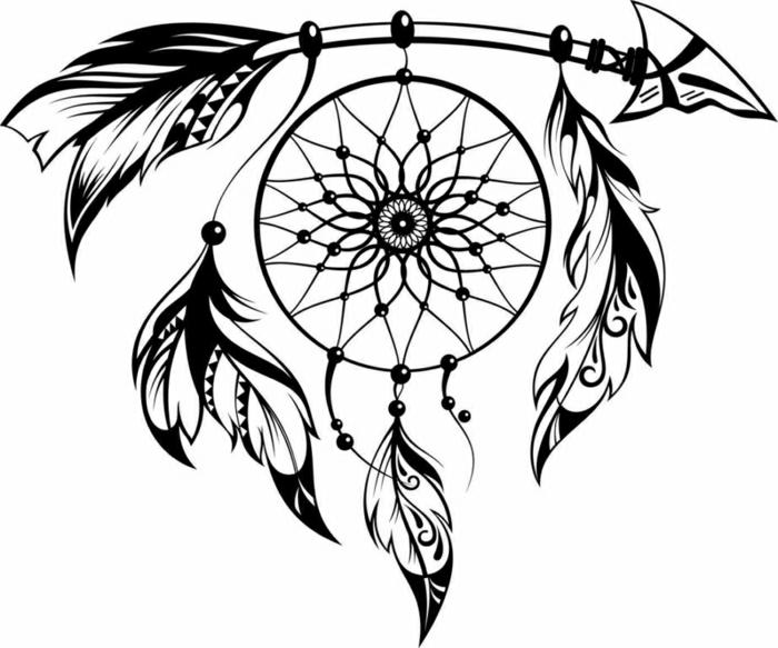 tatuaje atrapador de sueños, diseños de tattoos originales y fáciles de hacer, plantillas para tatuajes bonitos, diseños originales