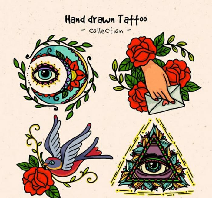los mejores diseños de tatuajes, tatuajes en colores estilo old school, las mejores ideas de tatuajes en estilo vintage