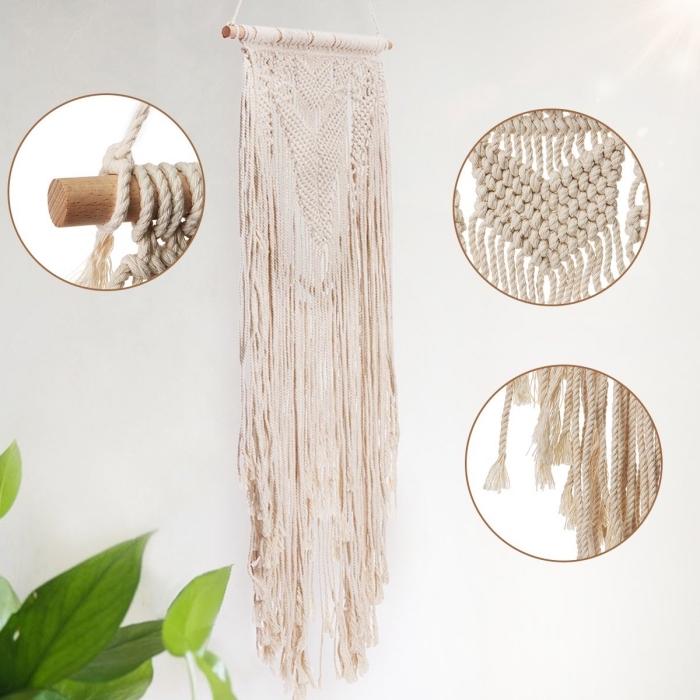 cómo hacer nudos macramé paso a paso, detalles del estilo bohemio, detalles decorativos de mimbre, madera y macrame