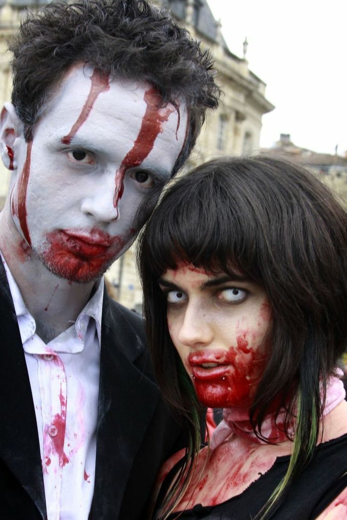 ideas terroríficas para halloween, como vestirme con mi pareja, ideas terrorificas de caras pintadas para halloween