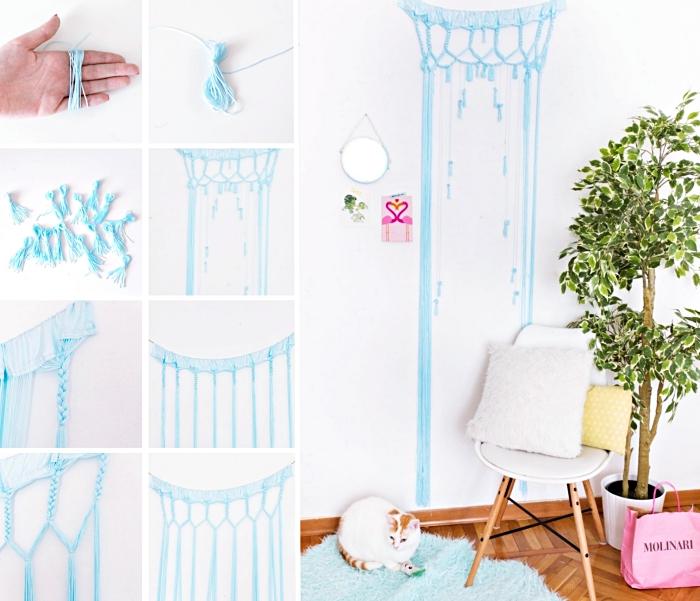 cómo hacer una cortina macramé en bonitos colores paso a paso, cortinas de macrame en bonitas colores, salón decorado en estilo boho
