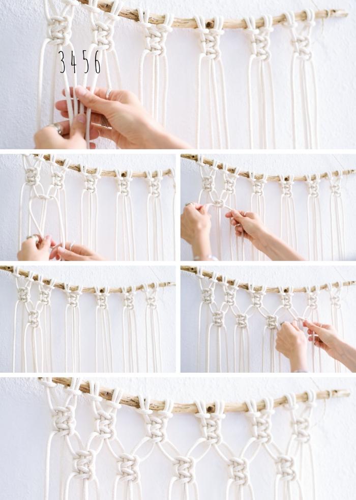 cómo hacer nudos de macrame originales, cortina macrame bonita paso a paso, técnicas con macrame originales en fotos