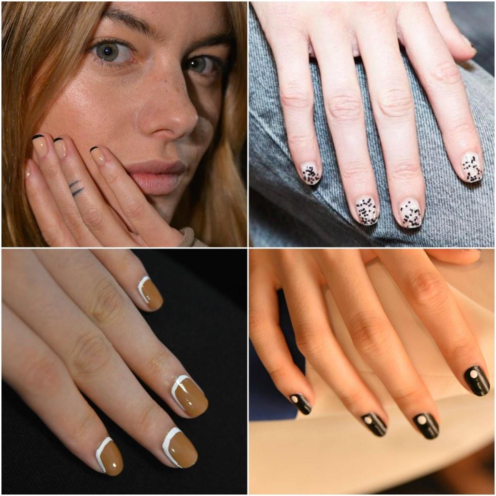 colores y modelos de uñas en tendencia, uñas negras decoradas, uñas francesas y esmaltes de uñas en colores terrestres