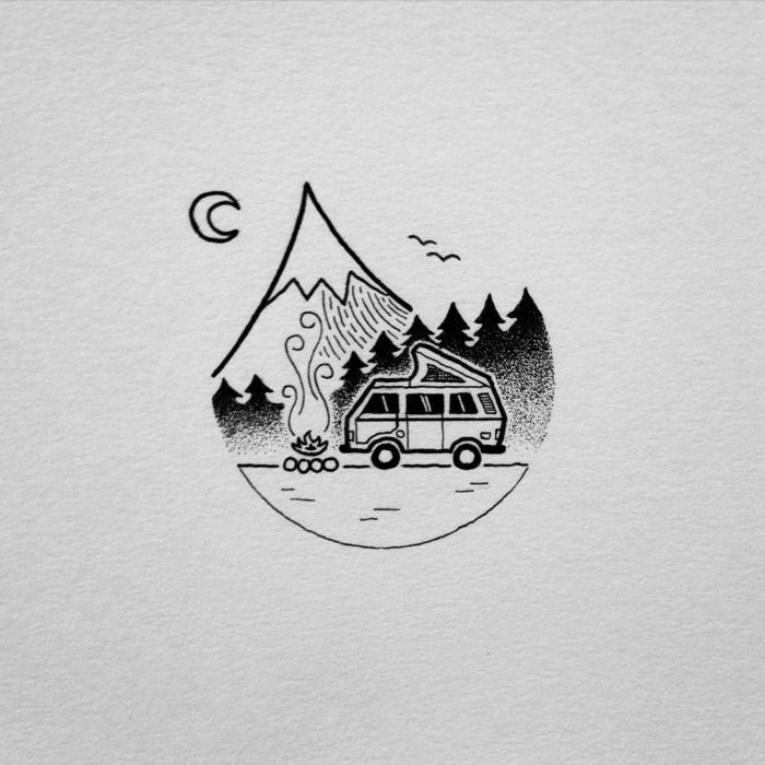 fotos de dibujos faciles de hacer e inspiradores, pequeños dibujos de paisajes de naturaleza, pequeños detalles para redibujar