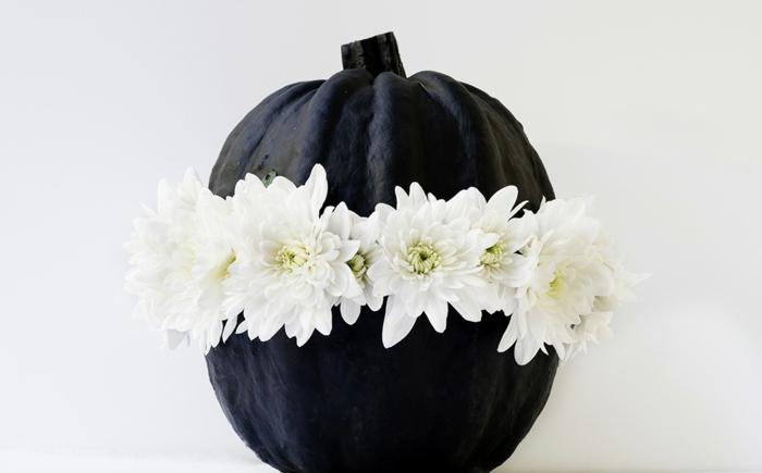 calabaza pintada en negro decorada con flores blancas, ideas de manualidades de otoño para decorar el hogar en fotos