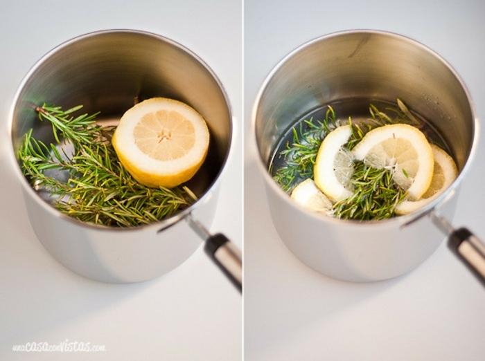 aromatizante natural para Navidad con limón y ramas de pino, ideas de recetas caseras fáciles y originales