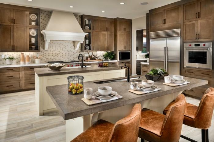 ideas para decorar una cocina moderna, cocina en beige y marrón con dos barras, fotos de cocinas con barra modernas
