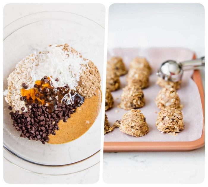 pasos para hacer bocados energéticos sanos, tahini de sésame, chispas de chocolate, miel, ralladura de coco y copos de avena