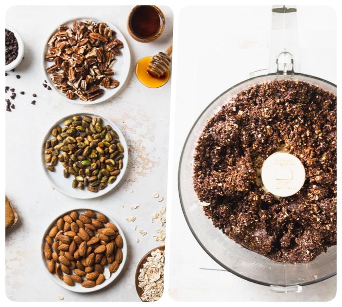 almendras, crudas, nueces, cacahuetes, miel, chispas de chocolate, ingredientes para poner en un procesador de alimentos