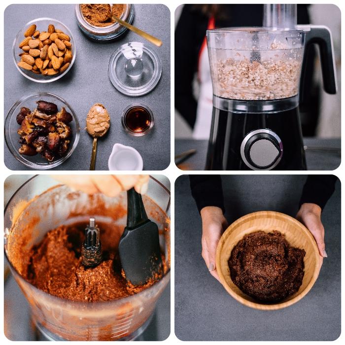 magníficas ideas sobre como hacer postres saludables sin horno, receta de trufas con almendras y datiles paso a paso