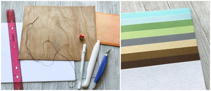 materiales necesarios para hacer un cuaderno de viaje DIY, regalos para viajeros únicos en bonitas fotos