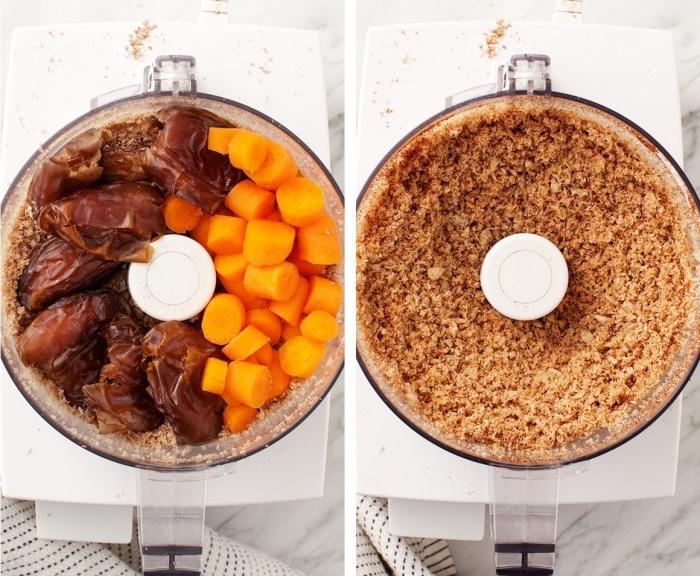 bolas energéticas con zanahorias, copos de avena y dátiles, ideas sobre como hacer mordeduras energéticas saludables