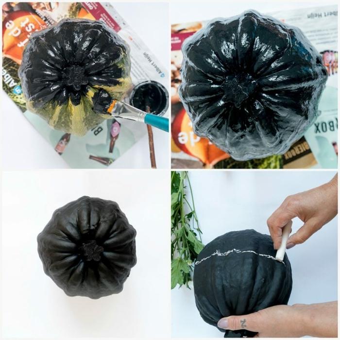 como pintar una calabaza en negro acabado mate paso a paso, ideas para decoración de otoño, fotos con tutoriales