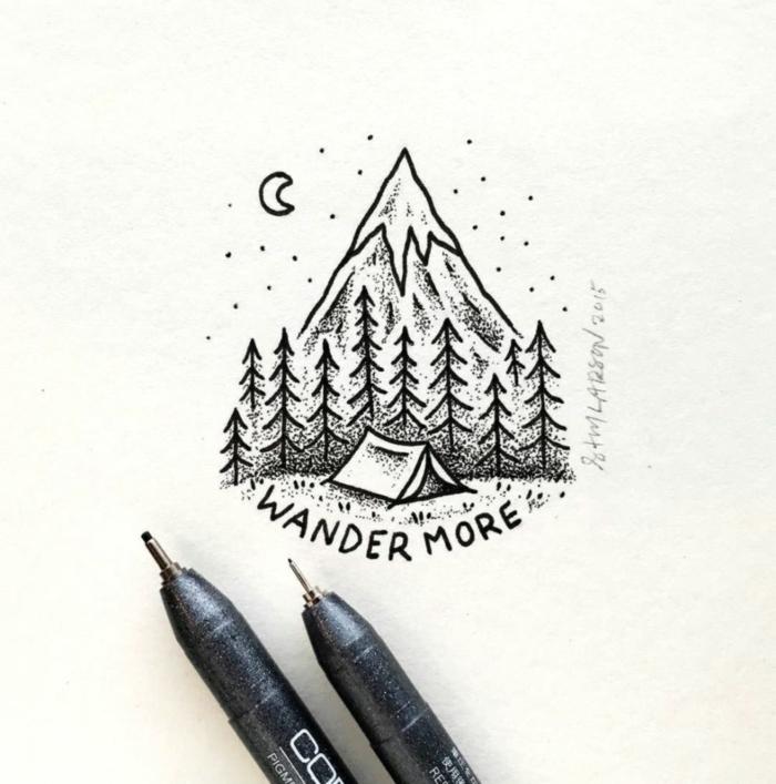 precioso paisaje montañoso que inspira, dibujos a lapiz faciles para aprender a dibujar, dibujos inspiradores